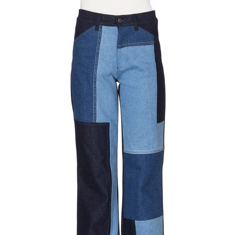 Patchwork-Front Flare-Leg Jeans