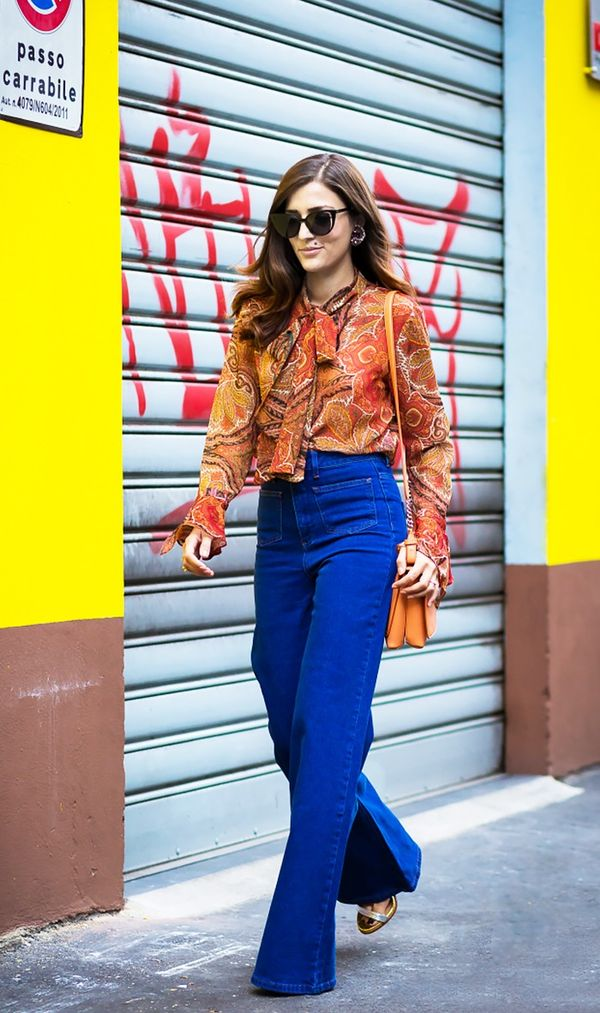 Pussy Bow Blouse + Flare Jeans + Metallic Sandals