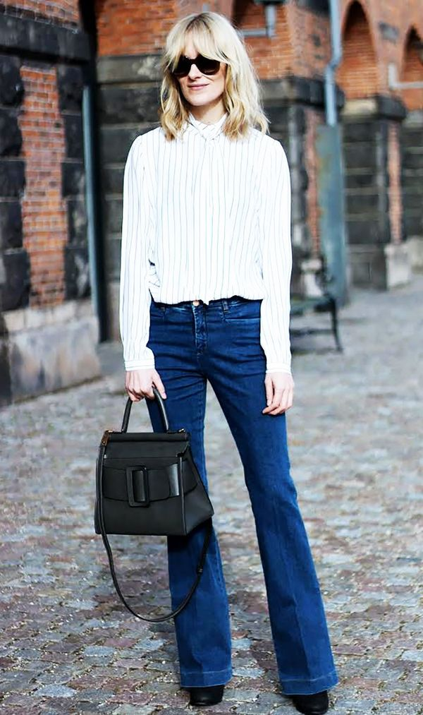 Striped Blouse + Flared Jeans + Structured Bag