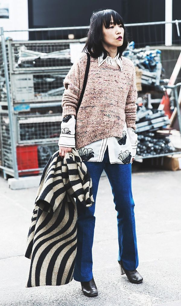 Sweater + Printed Blouse + Flares + Boots