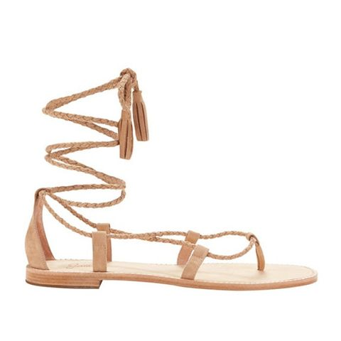 Bailee Braided Lace-Up Suede Sandal