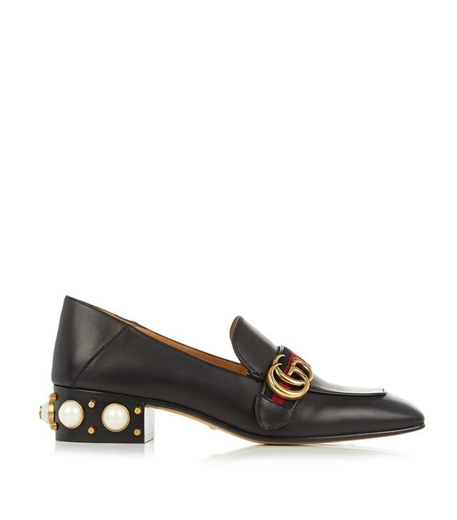 Gucci Peyton Faux-Pearl-Heel Leather Pumps