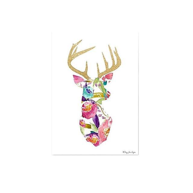 Americanflat Floral Deer Print Art