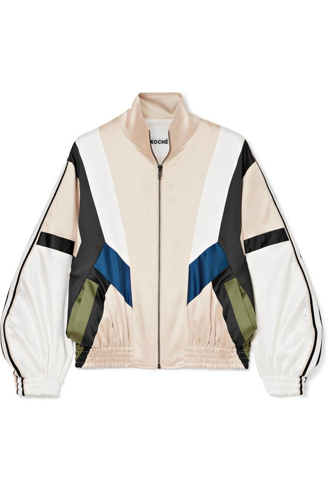 Koché Striped Paneled Satin Track Jacket