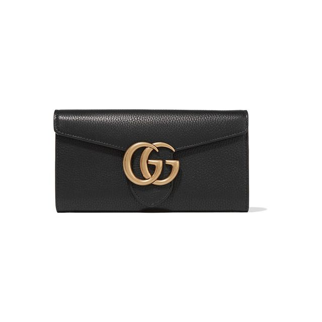 Gucci GG Marmont textured-leather continental wallet