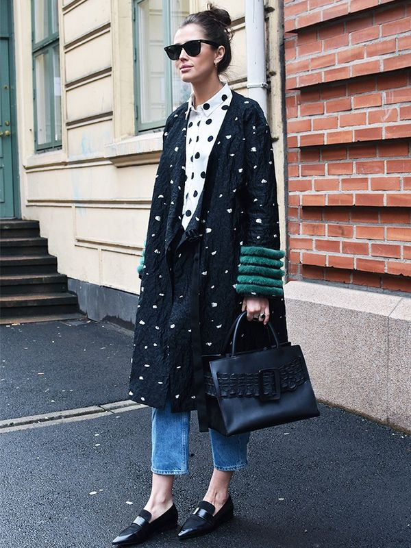 Style Notes: Darja Barannikis wearing a coat from the label everyone's talking about (Saks Potts), but makes it look even more graphic when set against another layer of polka-dots. This is...