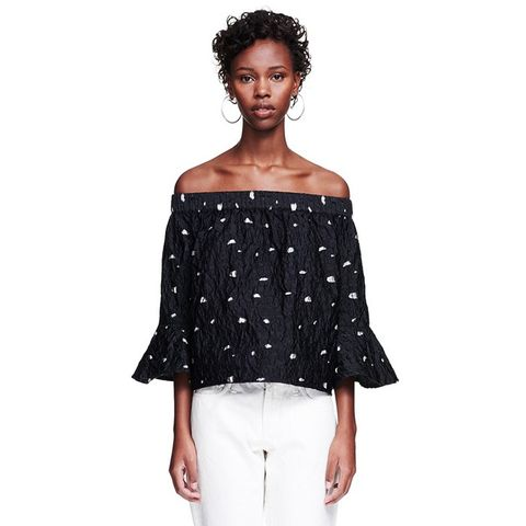 Amy Black Dotted Shoulderless Top