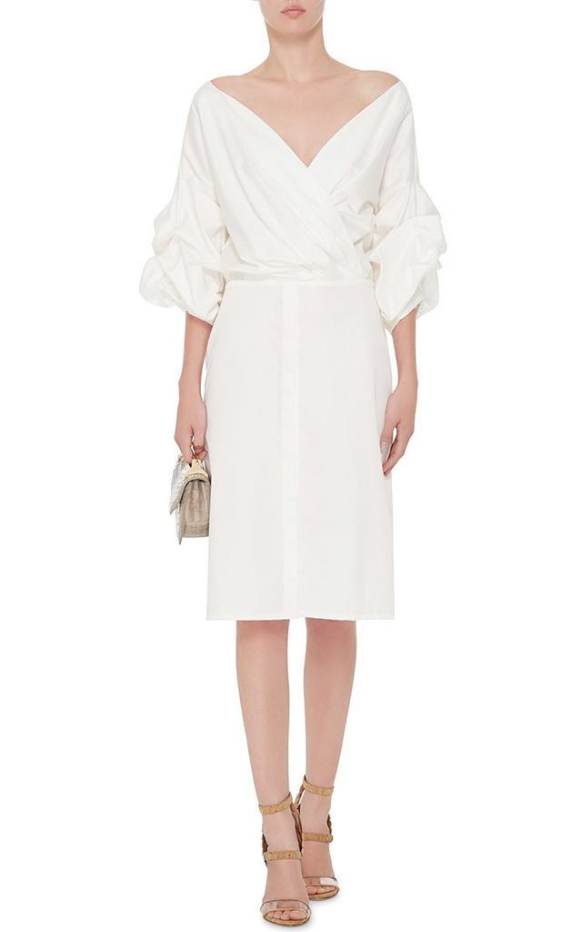 Johanna Ortiz White Cotton Tuxedo Dress