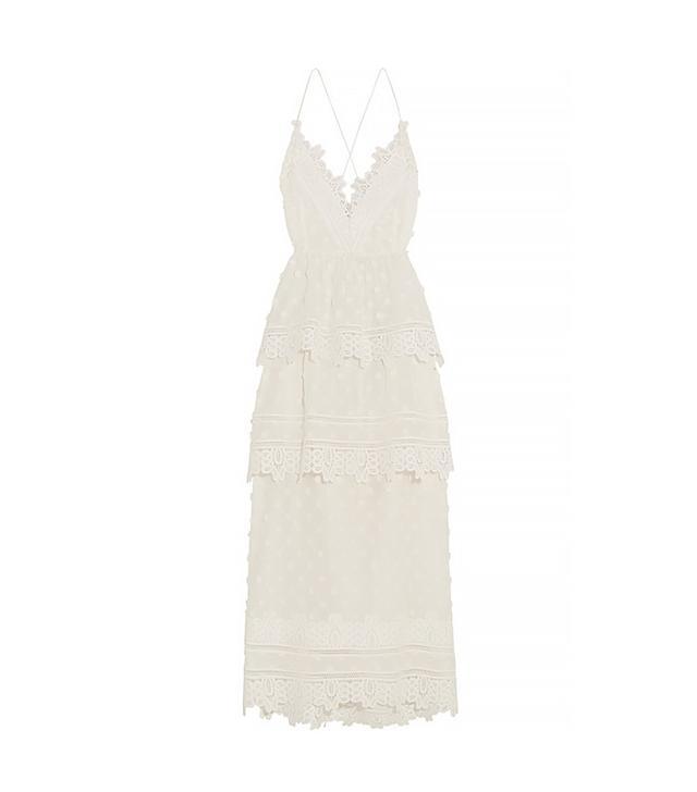 Self-Portrait Guipure Lace-Trimmed Appliquéd Cotton-Blend Voile Midi Dress
