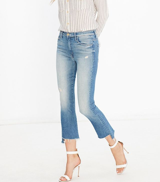 Mother Insider Crop Step Fray Jeans in Shake Well
