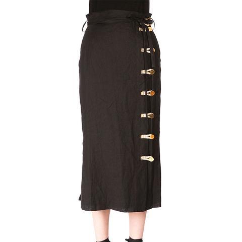 Looped-Button Linen Midi Skirt