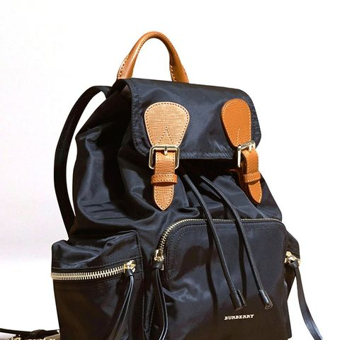 Medium Rucksack in Technical Nylon and Leather