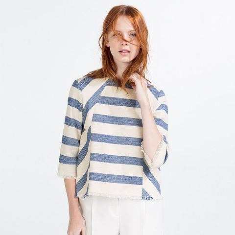 Striped Frayed Top