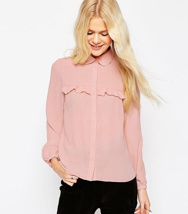 ASOS Ruffled Blouse With Peter Pan Collar