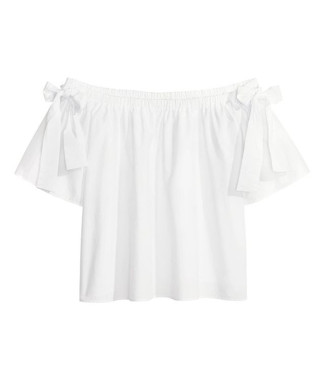 H&M Off-the-Shoulder Cotton Blouse