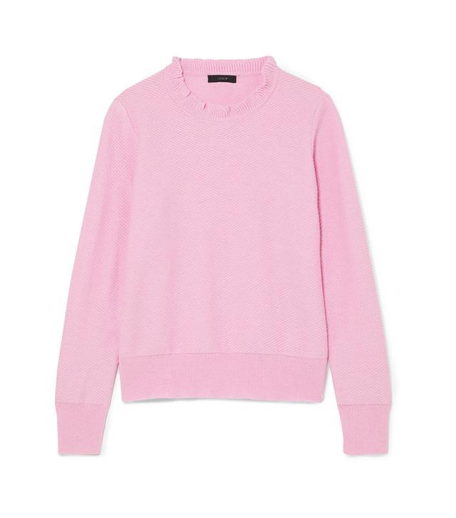 Ruffle-Trimmed Cotton-Blend Sweater