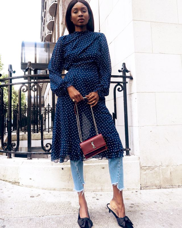 If jeans are a must for you, try giving them a bit of lift by styling them with a floaty dress on top.