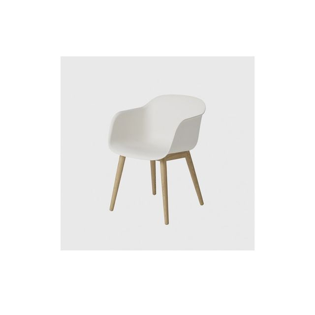 Living Edge Fiber Chair with Oak Base and White Shell
