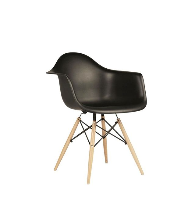 E Modern Decor Eames Style DAW Molded Black Plastic Dining Armchair