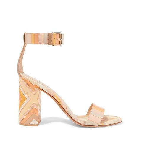 Printed Leather and Perspex Sandals