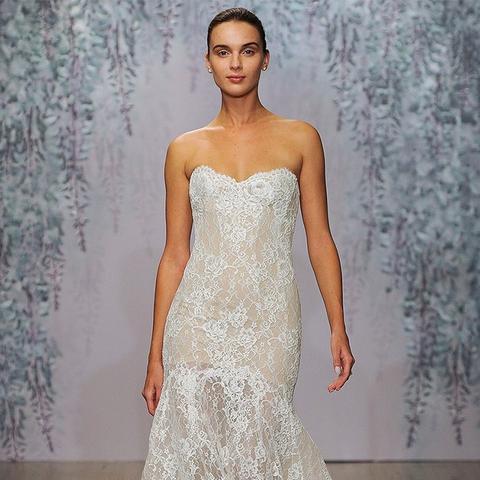Farren Strapless Lace Trumpet Dress