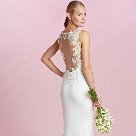 Daisy Illusion Back Appliqué Silk Crepe Column Gown