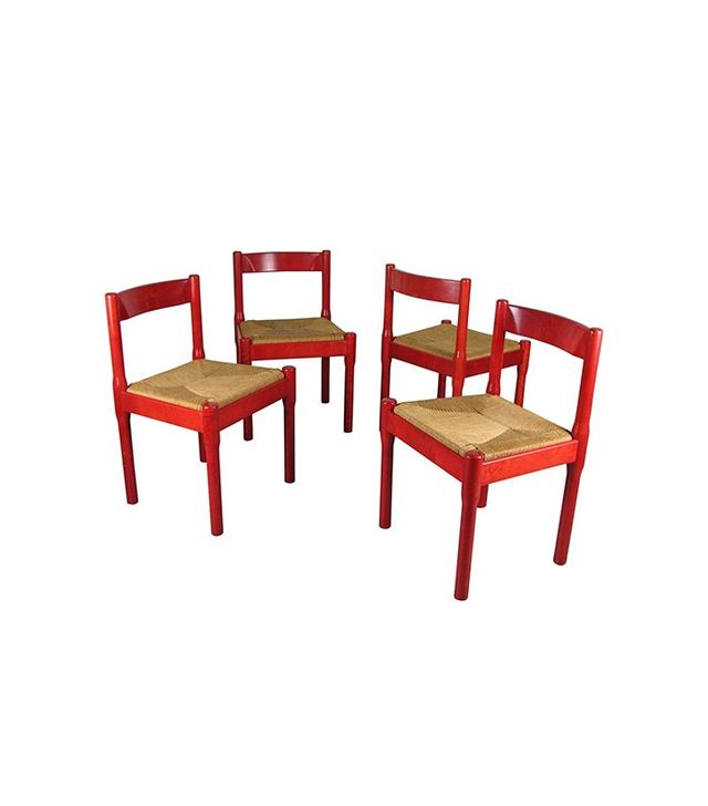 Vico Magistretti Set of Rare Red Carimate Dining Chairs