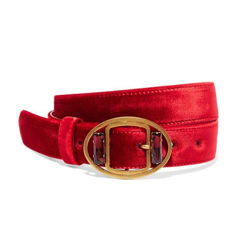 Embellished Velvet Waist Belt