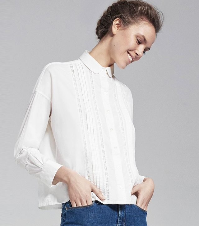 Me & Em Pleated Lace Detail Shirt