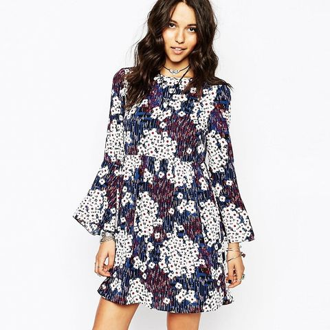 Reclaimed Vintage Dress With Bell Sleeves & Frill Bottom in Ditsy Floral Print