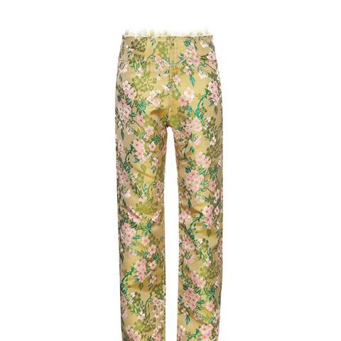 Floral Brocade Boyfriend Trousers