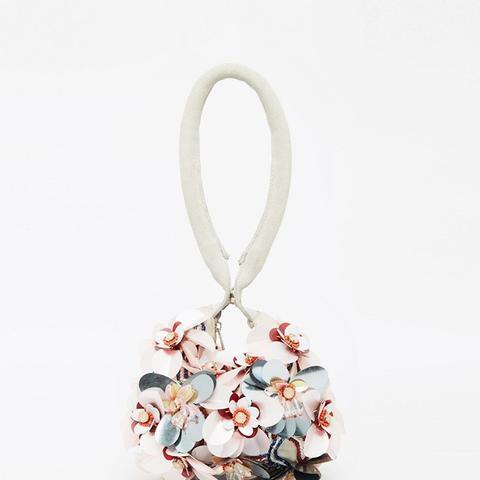 Big Flower Embellished Grab Clutch Bag