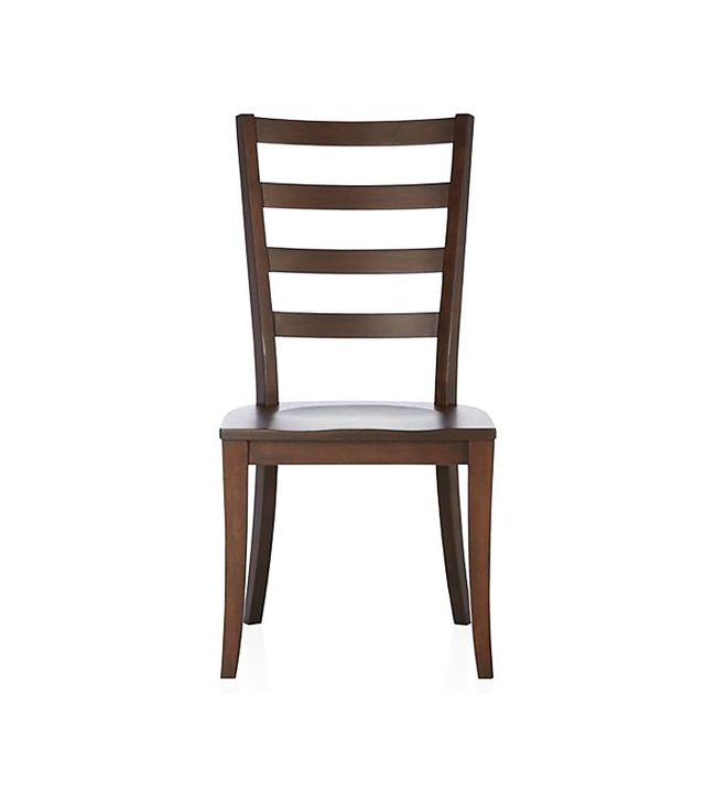 Crate and Barrel Harper Tea Ladder Back Wood Dining Chair and Sand Cushion