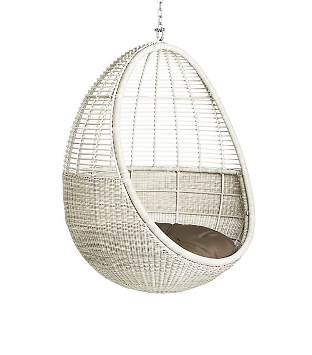 CB2 Pod Hanging Chair With Cushion