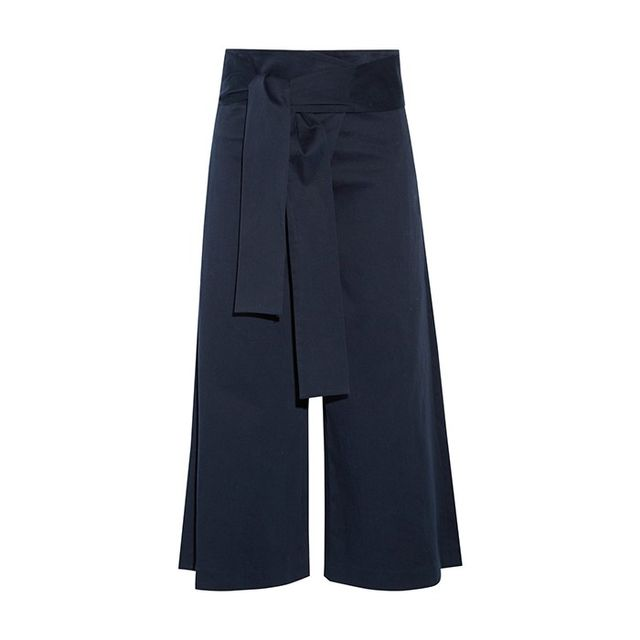 Tibi Barrett Cropped Cotton-Blend Twill Wide-Leg Pants
