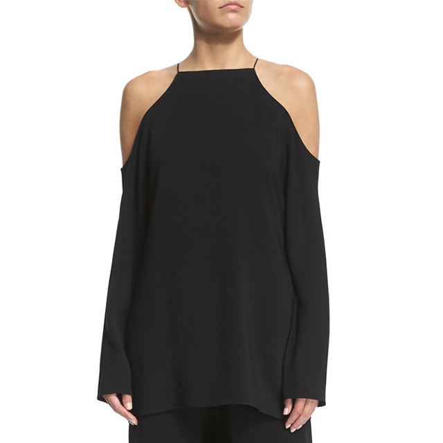 The Row Cady Cold-Shoulder Long-Sleeve Blouse