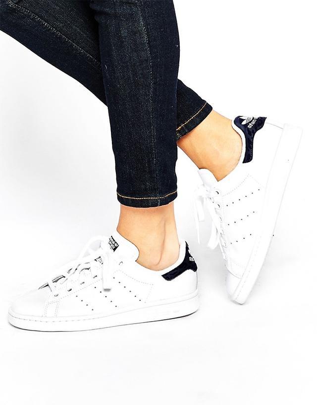 Adidas Originals White & Indigo Stan Smith Sneakers