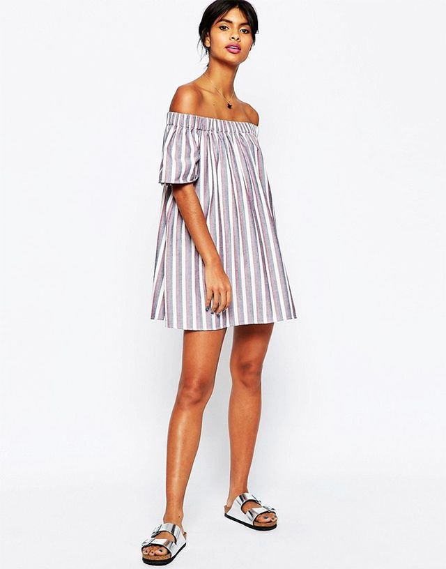 ASOS Stripe Off Shoulder Mini Sundress