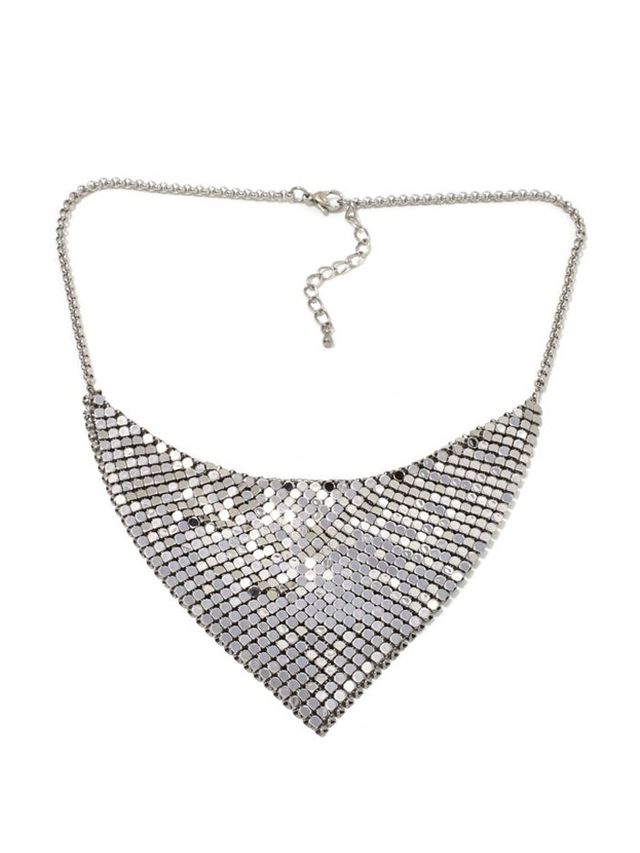 Stately Steel Stainless Steel Mesh Drape Necklace