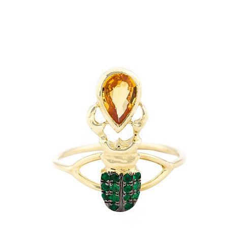 Khepri Yellow Sapphire and Emerald Ring