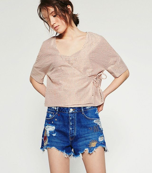 Zara Embroidered Denim Shorts