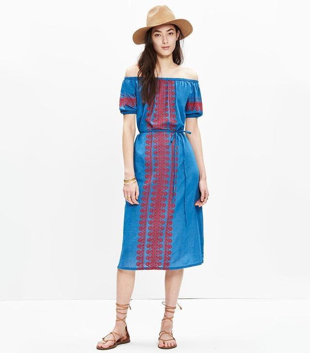 Madewell Embroidered Denim Mercado Dress