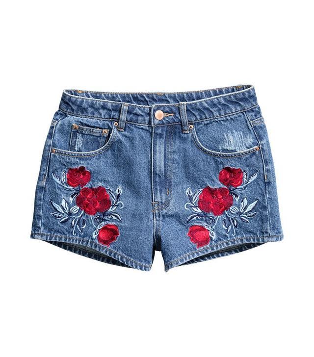 H&M Embroidered Denim Shorts