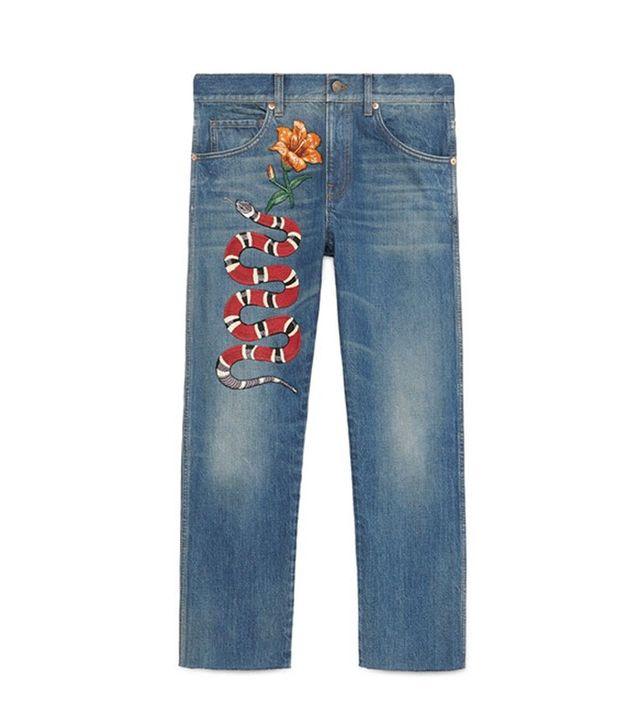 Gucci Embroidered Denim Pants
