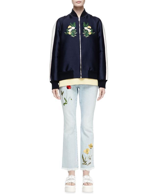 Stella McCartney Floral-Embroidered Bomber Jacket