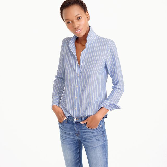 J.Crew Perfect Shirt in Striped Cotton-Linen