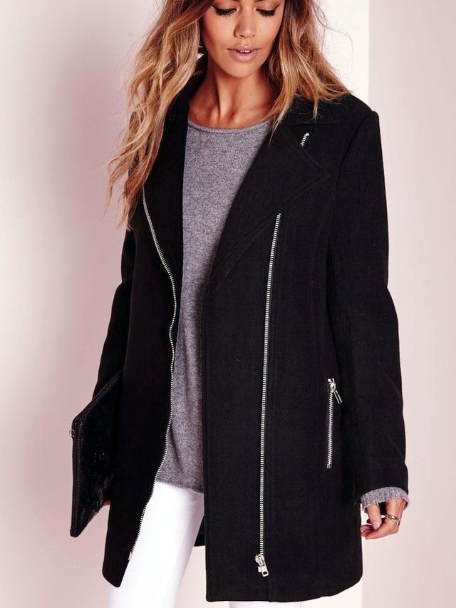 Missguided Faux Wool Biker Coat Black