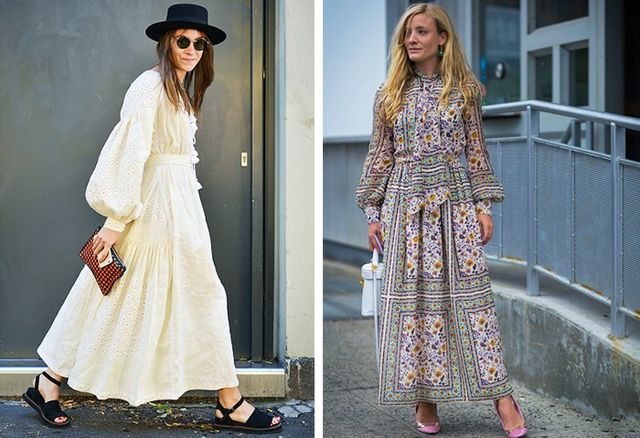 Nadiia Sahpoval and Kate Foley giving good boho on the streets of fashion week.