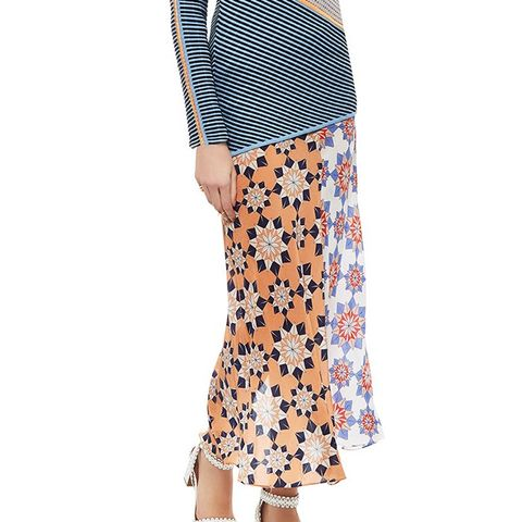 Multi Star Print Chiffon Skirt