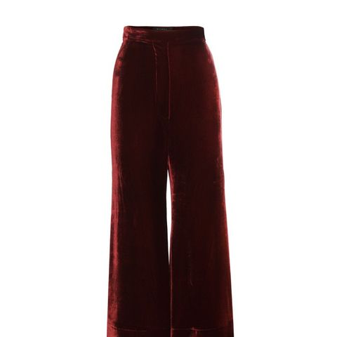 Cropped Flared Velvet Trousers